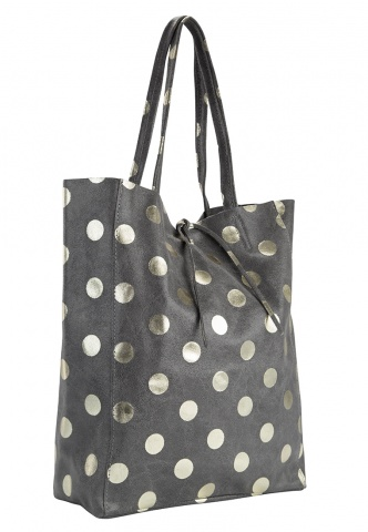 Damen-Shopper aus Velourleder und Metallic Dots-Print, grau