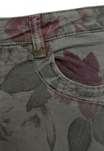 Damenhose Colour-Denim, Blumenprint, oliv