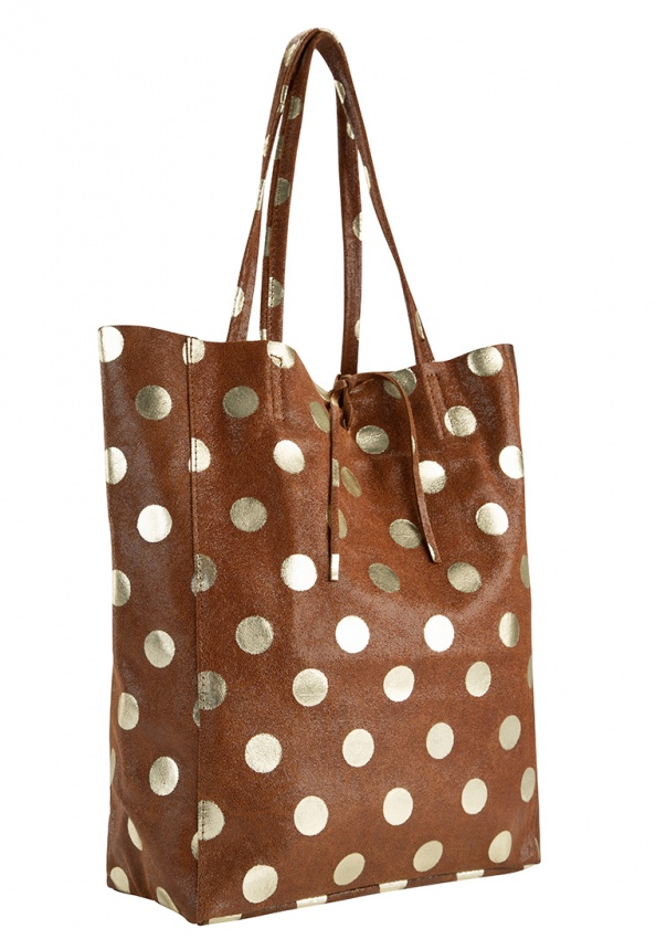 Damen-Shopper aus Velourleder und Metallic Dots-Print, braun
