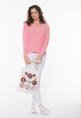 Motivtasche in Canvas-Optik, Donut