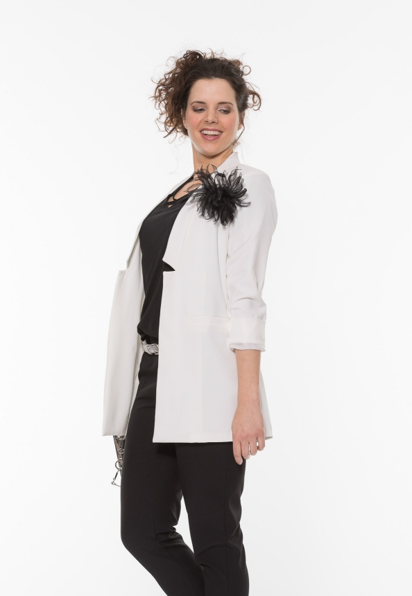Damen Longblazer, wollweiss