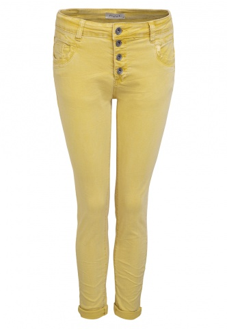 Damenhose Colour-Denim mit Pailetten, hellgelb
