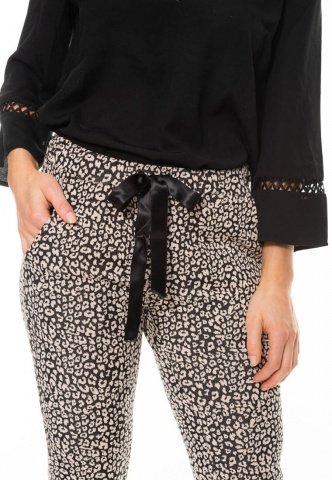 Damenhose, Jersey mit Animal-Muster