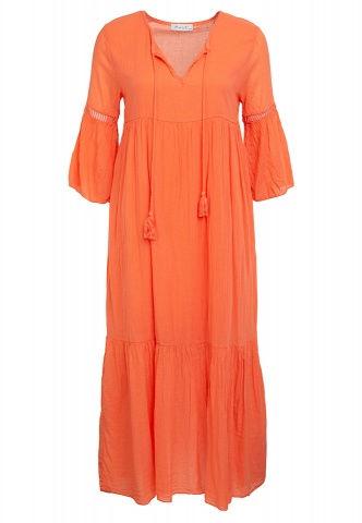 Damenkleid, Stufen, Volantarm, orange