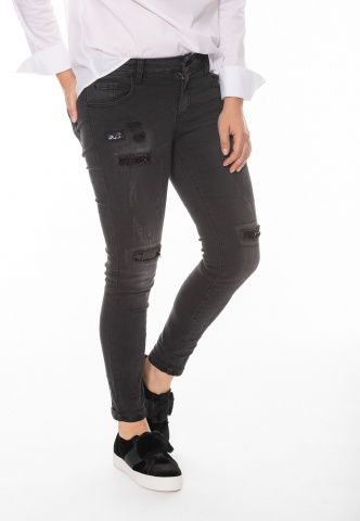 Damenjeans Black denim mit Pailletteneinsatz