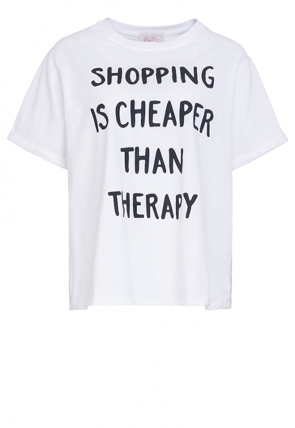 Damen-T-Shirt, Wording-Print, Oversized, weiß