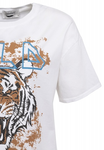 Damen-T-Shirt, Tiger-Print, wollweiß