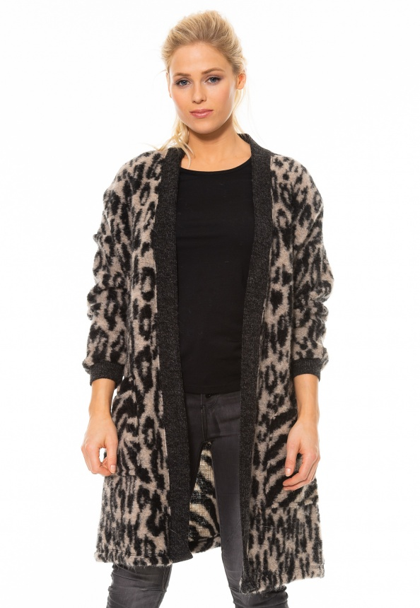 nuuc Damen-Strickjacke Zebra/Leo-Mix