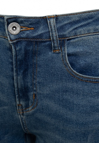 Damenjeans blue-denim cropped, destroyed