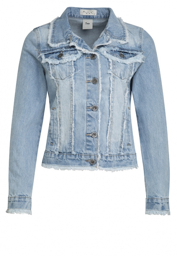 Damen-Jeansjacke, lightblue-denim mit Fransen