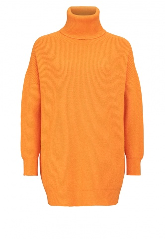 Damenpullover Rolli lang, Feinripp, orange