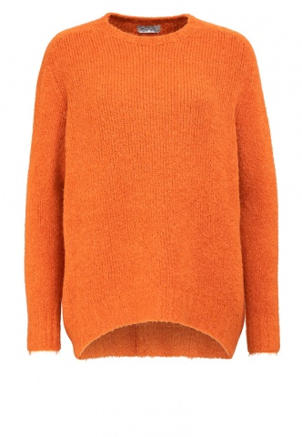 Damenpullover, oversized Flausch, orange