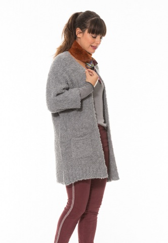 Damen-Strickjacke grau