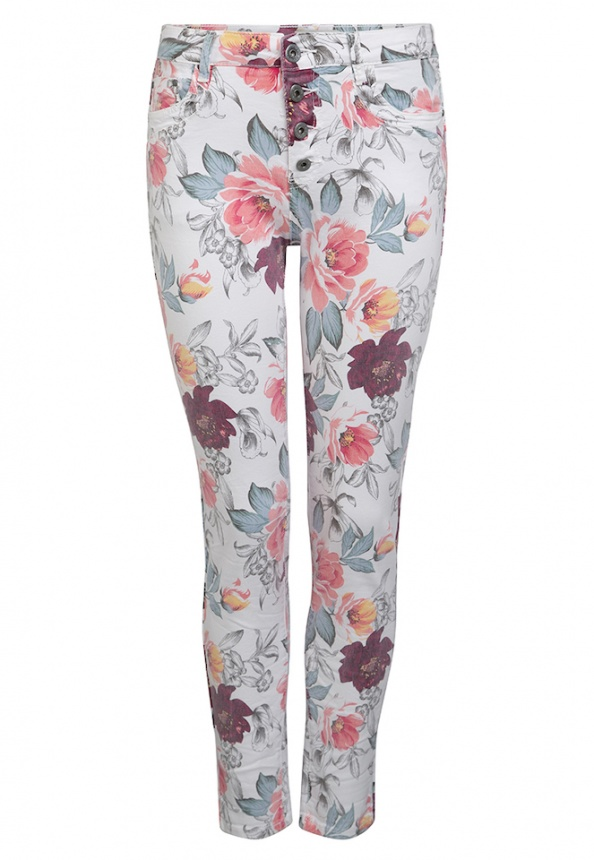 Damenhose Colour-Denim, Blumenprint, weiß