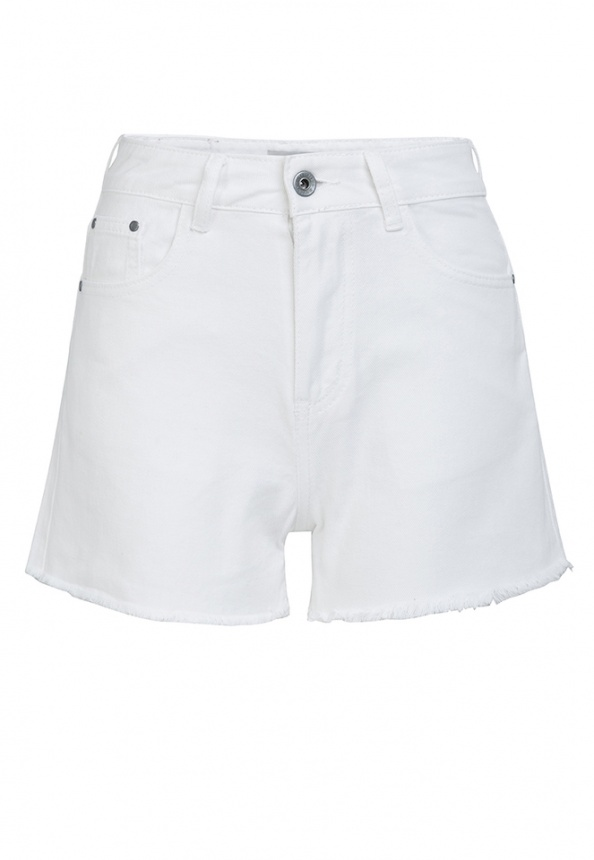 Damen-Short, gefranst, white-denim
