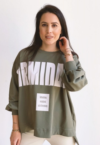 Damen-Sweatshirt, oversized, Wording-Print, oliv