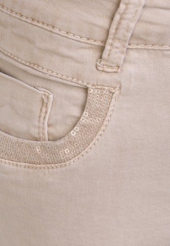 Damenhose Colour-Denim mit Pailetten, beige