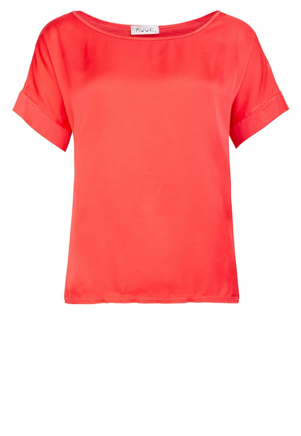 Damen-T-Shirt, Web-Wirk-Mix, coralle