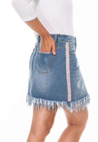 Damenjeansrock im Destroyed-Look mit Lurex-Perlenband, denim