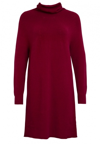 Damen-Strickkleid Feinstrick, Rolli, bordeaux