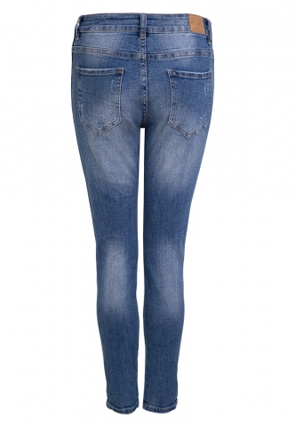 Damenjeans blue Denim mit Cropped-Gallon Effekt, blau