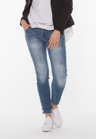 Damenjeans, blue denim mit Galonstreifen, used look, denim