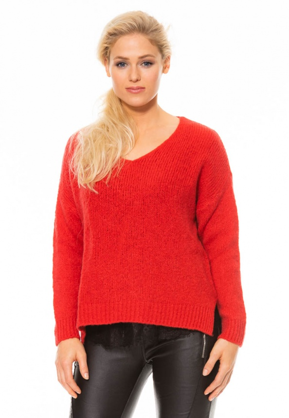 nuuc Damen-Pullover Grobstrick rot