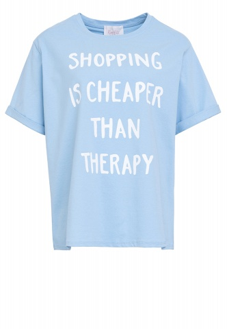 Damen-T-Shirt, Wording-Print, Oversized, hellblau