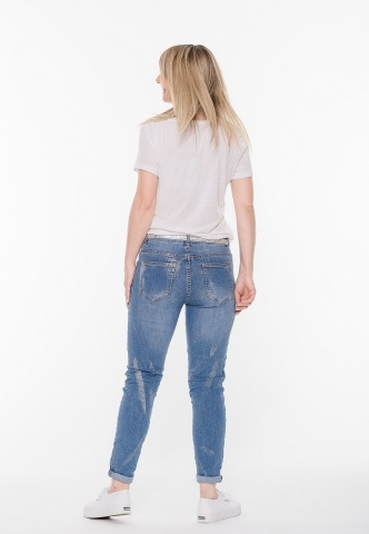 Damenjeans blue Denim, used Look mit Schrift-Prints, denim