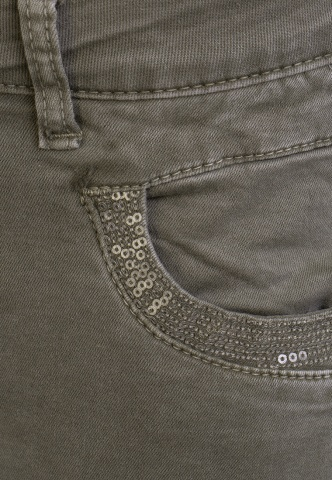 Damenhose Colour-Denim mit Pailetten, oliv