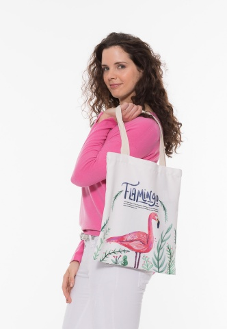 Motivtasche in Canvas-Optik, Flamingo