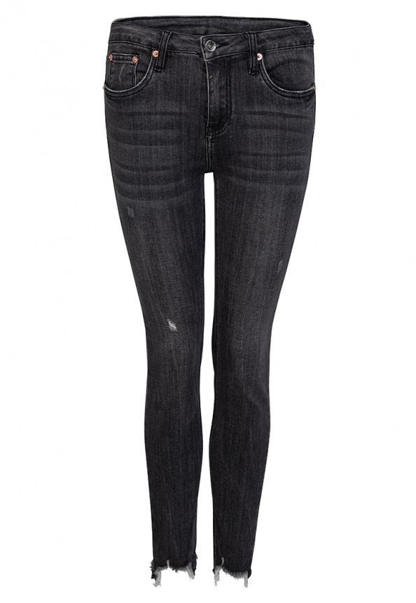 Damenjeans Grey-Denim gecroppt, grau