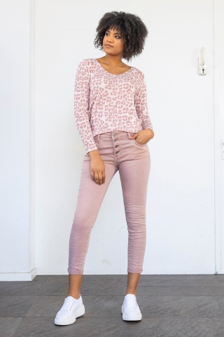 Damenhose Colour-Denim mit Pailetten, rosé