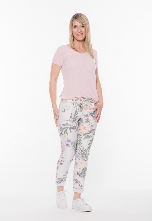 Damenhose Five-Pocket mit Tropical Print, weiss