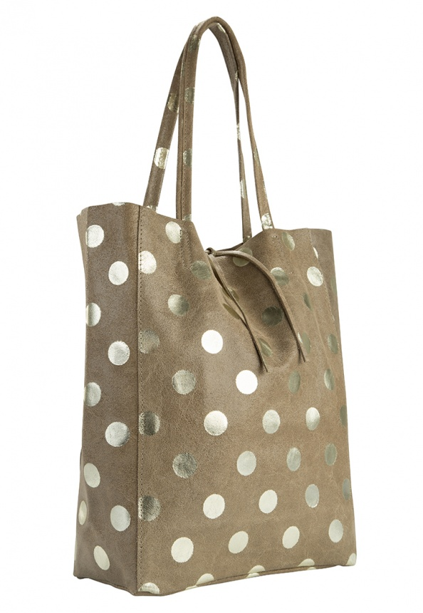 Damen-Shopper aus Velourleder und Metallic Dots-Print, taupe