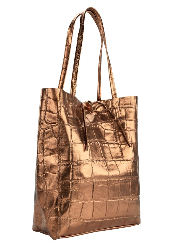 "Damen-Shopper bronze ""Metallic Optik"" aus Leder mit Prägung, bronze"