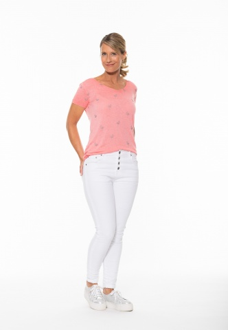 Damen T-Shirt Feinstrick Flamingo-Lurexprint, coralle