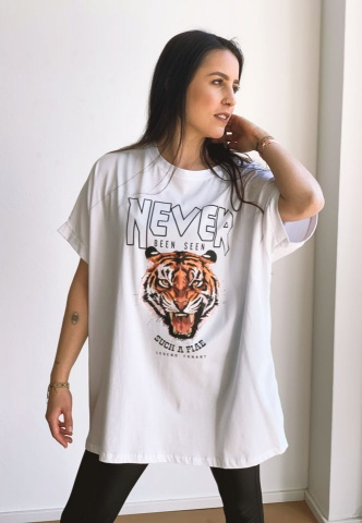 Damen-T-Shirt, oversized, Tigerprint, weiß