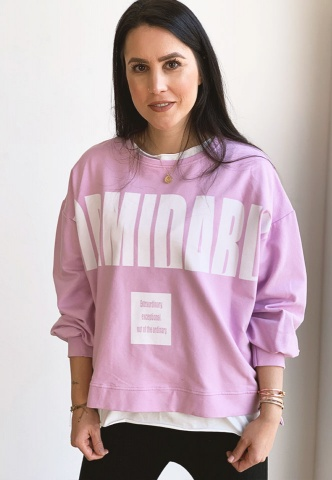 Damen-Sweatshirt, oversized, Wording-Print, rosa