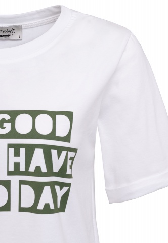 Damen-T-Shirt, Good Day, Colour-Wording-Print, military